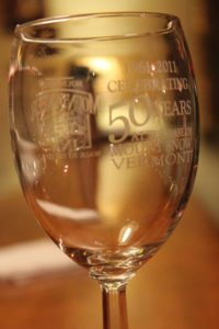 "Commemorative Mountaineer Inn 50th Anniversary Wine Glass ""50 Years at the base of Mount Snow"""