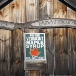 sign signifying maple syrup sold in shop is produced in Vermont
